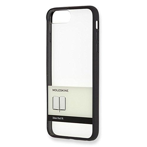 Moleskine Custodia Rigida Trasparente per Iphone 6 Plus/6S Plus/7 Plus/8 Plus, Fascetta Nera