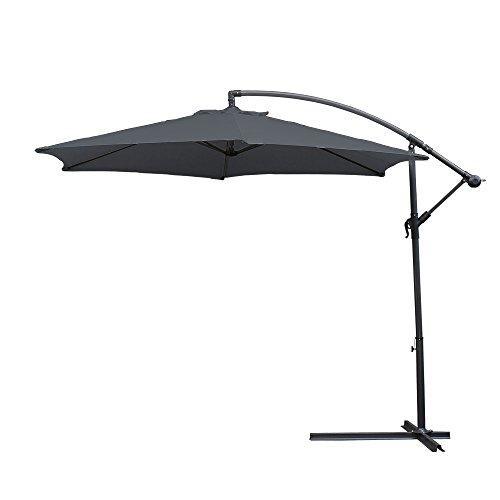 wolketon Alu Ampelschirm Ø 300cm mit Kurbelvorrichtung UV-Schutz 30+ Wasserabweisende Bespannung - Sonnenschirm Schirm Gartenschirm Marktschirm Kurbelschirm