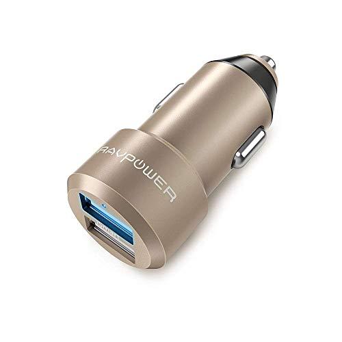 Ravpower extra-mini alluminio caricabatterie auto 2 porte, 24w/4.8a, caricatore usb universale con tecnologia ismart per iphone, ipad, smartphone galaxy, huawei, lg, nexus, tomtom, ecc. - oro