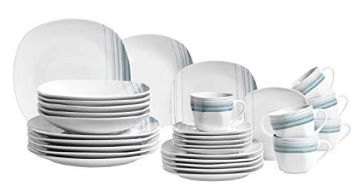 Mäser 931211 Serie Enni, Kombiservice 30 teilig, weißes Porzellan Geschirr-Set mit blauem Muster, Teller, Kaffeetasse, Dessertteller für 6 Personen, Weiß / Blau