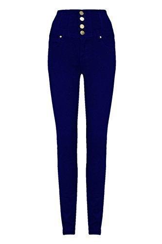 Damen Helle Waschung Slimfit Passform Dehnbar Hose Hohe Taille Jeans Blau