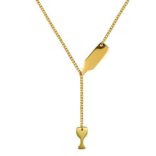 EXQULEG Damen Edelstahl Weinflasche Bier Tasse Anhänger Y Halskette, Halskette Anhänger Kette Pullover Ketten Elegant Charme Zubehör (Gold)