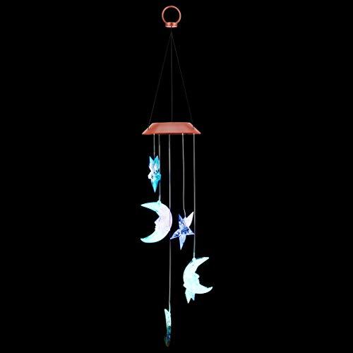 Kostüm Wechselnden Farbe - Factorys Mond und Sterne Windspiele LED Solar Windspiele Im Freien wasserdichte LED Wechselnde Lichtfarbe Windspiel 7 farbwechselnde LED Birne