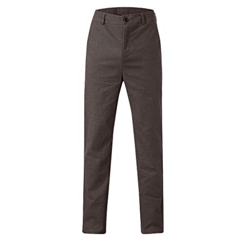 Business Anzug Büro Konferenz Kleid Volltonfarbe Baumwolle Knopf Reißverschlusstasche Hosen(XL,Kaffee) ()