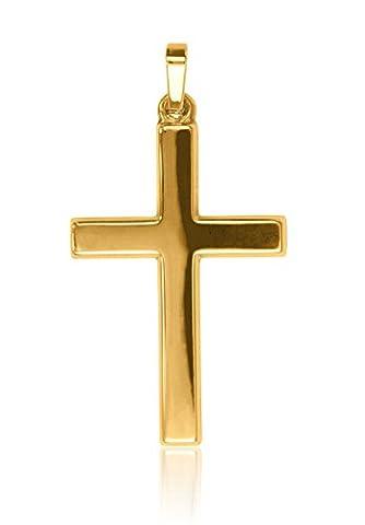 MyGold Kreuz-Anhänger (ohne Kette) Gelbgold 585 Gold (14 Karat) massiv Hochglanz 36mm x 19mm Herrenschmuck Goldkreuz Kreuzkette Halskette Männerkreuz Männerschmuck Hoss (9 Ct Goldringe)