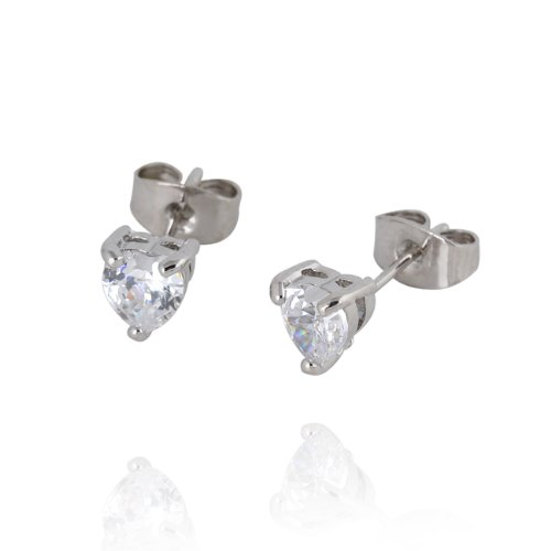 Zibuyu Bling Heart Crystal Earring Ear Stud Piercing Jewelry White Gold Plated