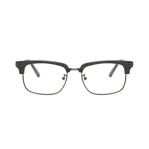 WULE-Sunglasses Unisex Männer Und Frauen Holzmaserung Fashion Classic Plain Brille Retro Half Frame Brille Für (Color : 01Gray, Size : Kostenlos)