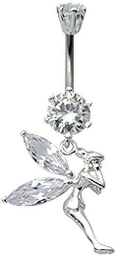sign bauch knopf ring mit Schmuckstein kristall von BodyTrend- 10mm - Durchsichtig ()