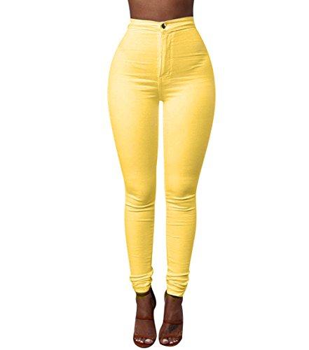 ISSHE Pantalones Cintura Alta Skinny Mujer Pantalon Slim Tiro Alto Mujer Jeggings Leggins Push Up Señora Leggings Deporte Pantalones Talle Alto Deportivos Elasticos Mujer Tallas Grandes Amarillo XL