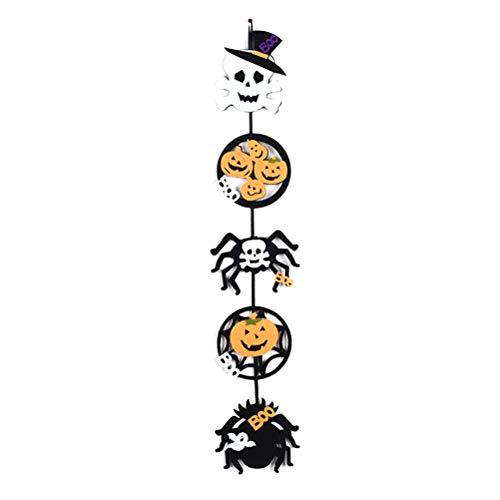 Amosfun Halloween Hängende Dekoration Vlies Schädel Kürbis Spinne Hängende Wand Tür Dekor Halloween Party Supplies (Halloween Dekor Tür)