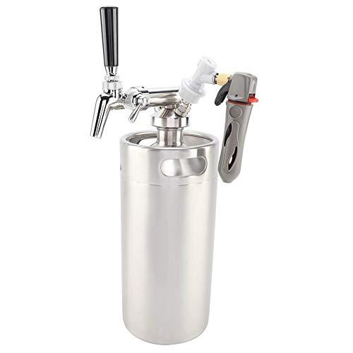 Acouto Mini Bierfass Barrel, Bierfass Mini Fass Stil Edelstahl Bier liefert Bier Doppelgriffe für Home Camping Picknick