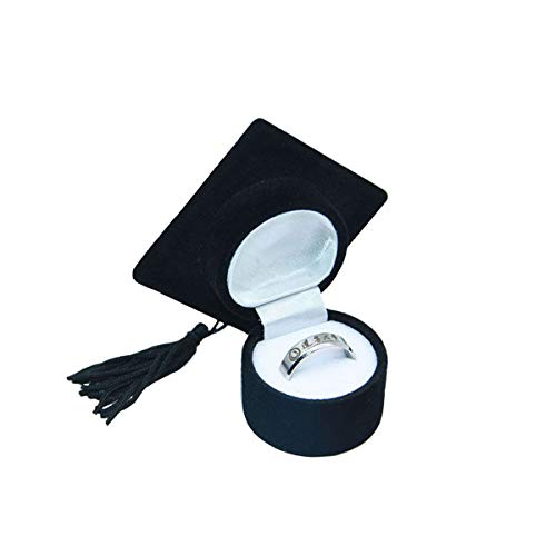 Amosfun Doktor Hut Shaped Ring Box Graduation Geschenk Kreative Organizer Schmuckschatulle Aufbewahrungskoffer Ring Halter für Abschlussfeier Weihnachtsfeier Dekoration (Schwarz) -