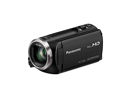 Panasonic HC-V180 - Videocámara de 50x, O.I.S de 5 Ejes, F1.8 - F4.2, Zoom 28 mm - 174 mm, HD, SD, Time - Lapse, Zoom 90x Inteligente, Color Negro