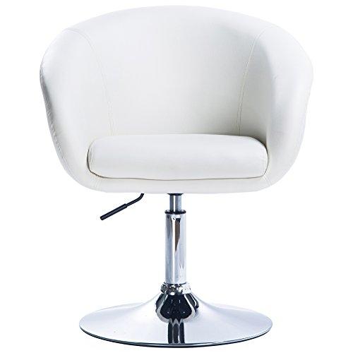 eSituro SBST0150 1X Barsessel Barhocker mit Armlehne mit verchromtem Metallgestell höhenverstellbar und drehbar Kunstleder Weiß