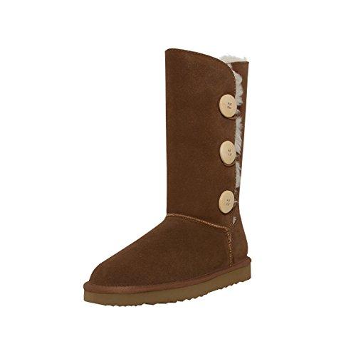 SKUTARI Triple Button Boots, In Handarbeit gefertigte kniehohe italienische Damen-Lederstiefel mit kuscheligem Kunstfellfutter und Anti-Rutsch-Sohle (41 EU, Camel) - Warm Schwarze Kniehohe Wildleder Stiefel