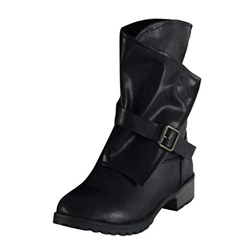 CommittedeDamen Buckle Bootie Stretch Stiefeletten Flat Heel Bootie Trend Bootie aus Leder, Schwarze Biker Boots mit Schnallen Stiefeletten Schlupfstiefel Boots -