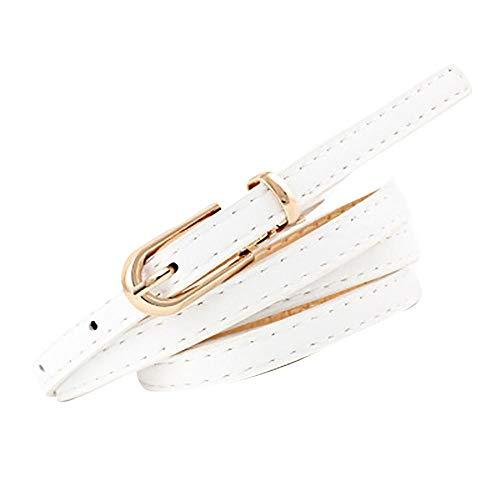 Firally Hot sale Cintura,Moda Donna Vintage Accessorie Smerigliato Casual Fibbia Cintura Sottile in Pelle per il Tempo Libero Elastica Dimensioni Regolabili(Taglia unica,bianca)