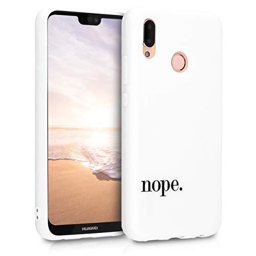 kwmobile Huawei P20 Lite Cover - Custodia in Silicone TPU per Huawei P20 Lite - Back Case Protezione Posteriore Cellulare Nero/Bianco