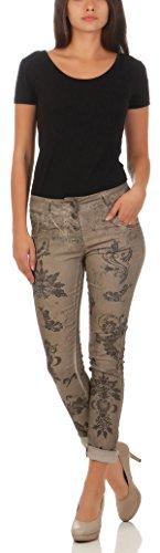 malito Jeans strass Panteloni Stretch Jogg H216 Donna Fango