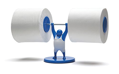 Preisvergleich Produktbild Doiy oilettenpapierhalter Mr T - blue / blau - Gewichtheber für 2 Rollen Klopapier Reserve im Bad für Toilette und WC