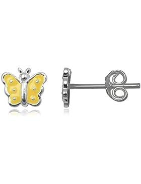 JAYARE Kinder-Ohrstecker Schmetterling 925 Sterling Silber Emaille 6 x 6 mm gelb Ohrringe