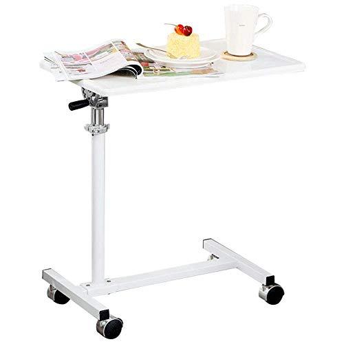 Tingting Couchtisch Kaffeetisch Esszimmertische Beistelltisch Laptop-Tisch Mit Rädern Rollwagen Nachttischlift Höhenverstellbarer Klapptisch (Farbe : Weiß, größe : 60.1 * 34.1 * 65.5-99.7cm) -