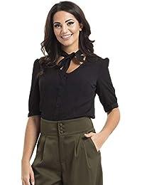a57e776401d065 VOODOO VIXEN Katherine 40s Style Black Blouse