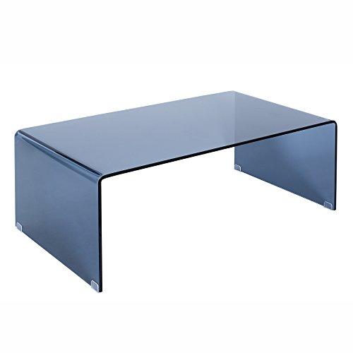 Riess Ambiente Extravaganter Glas Couchtisch FANTOME 110cm anthrazit Rauchglas Glastisch Tisch Sicherheitsglas -