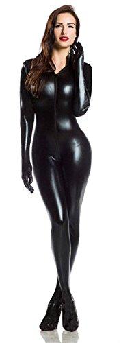 Forever Young Catsuit für Damen, sexy, schwarz, 4-Wege-Zip, PVC, Elasthan, glänzend, schwarz, PVC_7400_UK8_Small