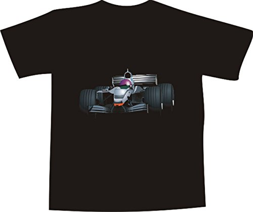 T-Shirt E219 Schönes T-Shirt mit farbigem Brustaufdruck - Logo / Grafik - Formel Eins Rennwagen / Autorennen / Tuning Schwarz