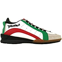 ae9e5ac511e DSQUARED2 - Zapatillas de Piel para Hombre Bianco + Verde + Rosso + Grigio