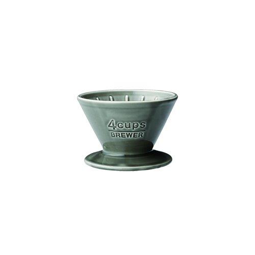Kinto Slow Coffee Style Porzellan Kaffeefilter, bis zu 4 Tassen, grau