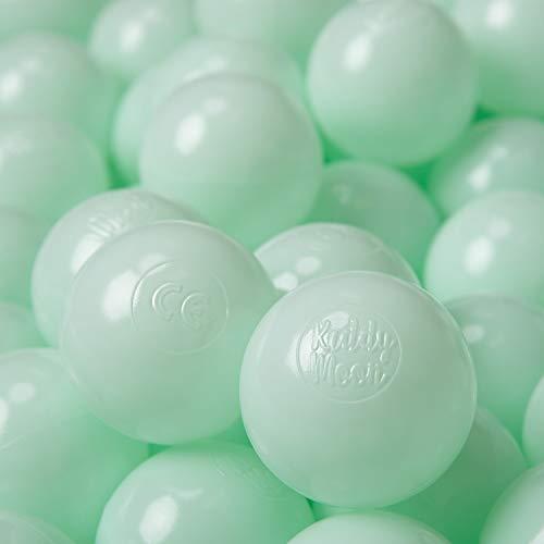 KiddyMoon 100 ∅ 6Cm Kinder Bälle Für Bällebad Spielbälle Baby Plastikbälle Made In EU, Mint -
