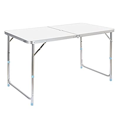 Finether Folding Table with Parasol Hole, Portable Multi-Purpose Indoor Outdoor Activity Recreation Dining Picnic Party Camping Table - low-cost UK light shop.