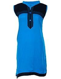 PRIYA Women's Cotton Kurta (PRIYA006--Large, Blue, Large)