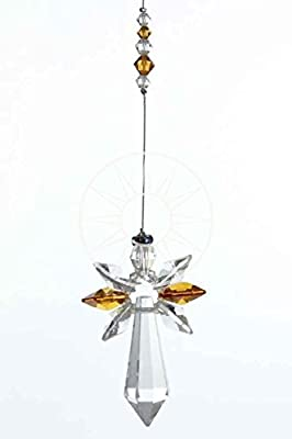 Swarovski Large Crystal Guardian Angel Birthstone Suncatcher TOPAZ - NOVEMBER
