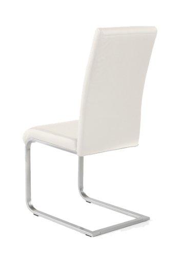 4 x Design Stuhl Freischwinger Piet 32 Kunstleder weiss - 3