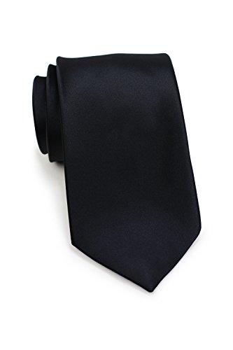 PUCCINI Krawatte Herren, Einfarbig, 39 verschiedene Farben, Satin-Glanz, Mikrofaser, 8,5 cm, Handarbeit, Hochzeit – Trauer – Büro (Schwarz) (Lange Schwarz Glanz)