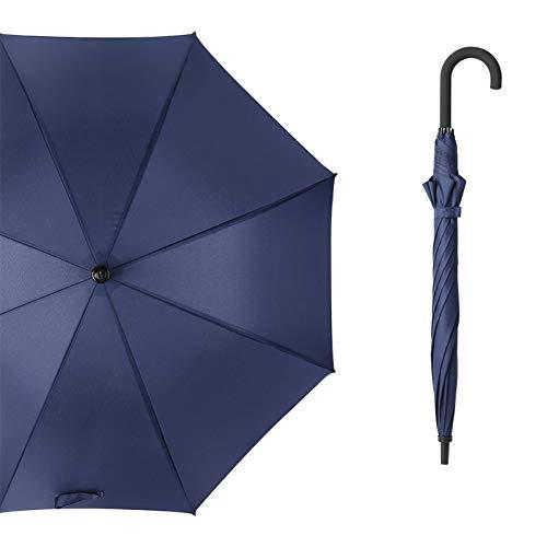 Like More Doppelstrang-Langgriff-Golfschirm Automatik-Regenschirm mit gebogenem Griff Einfarbiger Business-Regenschirm 1 Stück,Blue