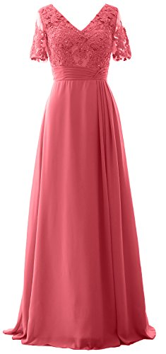 MACloth Elegant V Neck Mother of the Bride Dress Half Sleeve Formal Evening Gown Watermelon