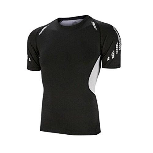 Herren Shirt, Sportstyle Core Athletic Schnelltrocknend Muskelshirt für Sport Gym Fitness & Bodybuilding Schwarz Größen S-3XL (XL)