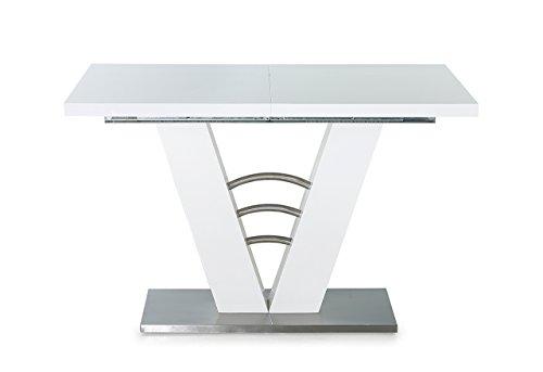 lifestyle4living Esstisch in Weiß Hochglanz | Esszimmertisch ist ausziehbar auf 120-160 cm breit und 80 cm tief | Küchen-Tisch hat Fußplatte aus Edelstahl