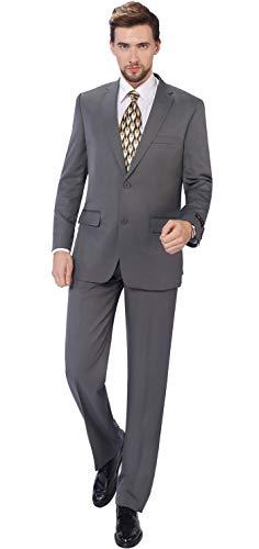 Lange Anzug Trennt (P&L Herren Blazer & Hose, klassisch, 2-reihig, 2 Knöpfe - grau - 52 Lange/ 36W)