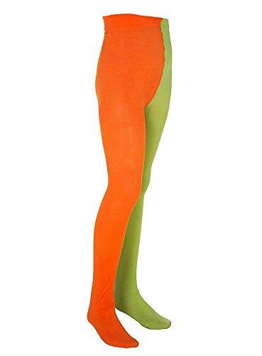 Kostüm Strümpfe Mädchen - Maskworld Pippi Langstrumpf Strumpfhose für Kinder - grün/orange (98/116)