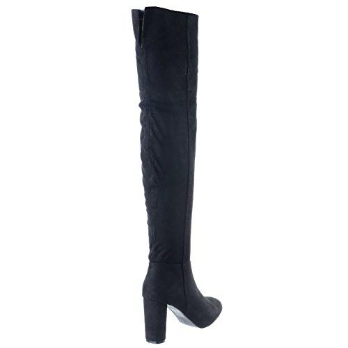 Femmes Nouvelles Sur Le Genou Adhérent, Élevé Moyen Grand Ovali Talon Charnière Bottes Numeroo Chaussures Cuir Noir Daim