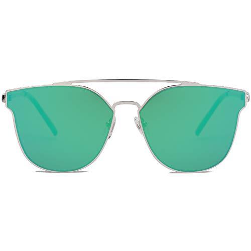 SOJOS Handgemacht Rostfreier Sathl Hochwertig Kein Nickel Schicke Sonnenbrille für Damen Herren Verspiegelt SO SHINE (C6 Silber Rahmen/Grün Verspiegelte Linse)