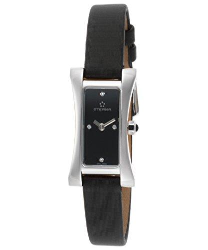 Eterna–2610–41–46–1120sahida de la mujer diamante negro satinado y Dial Reloj