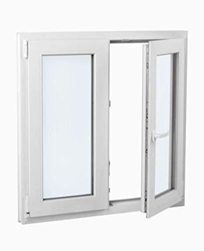 Finestra in PVC 100 cm x 100 cm | 2 fogli | Oscilobatiente | Elevato isolamento termico e acustico | Doppio vetro | Pieghevole | Resistente al sole
