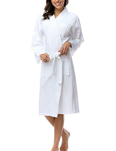Lange Leichte 100% Baumwolle (Damen Weiche Reine Baumwolle Bademantel Frauen Verschiedene Farbe White Gr.S)