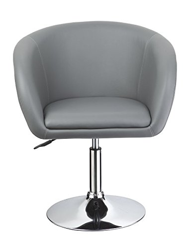 Clubsessel in Grau Esszimmerstuhl höhenverstellbar Kunstleder Drehsessel Coctailsessel Lounge Sessel Duhome 0261 1